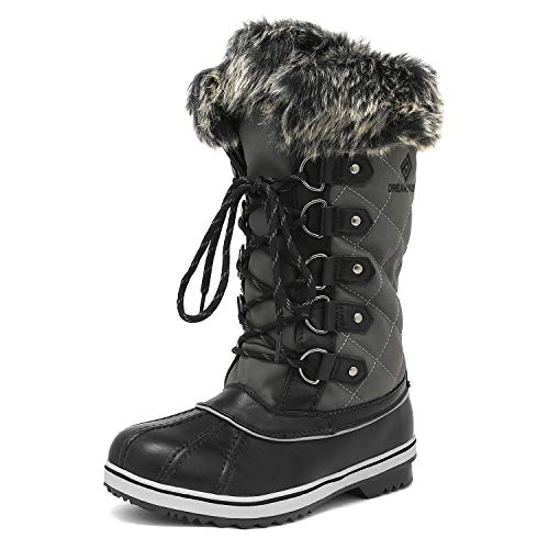 DREAM PAIRS Women's River_1 Grey Mid Calf Winter Snow Boots Size 9 M US