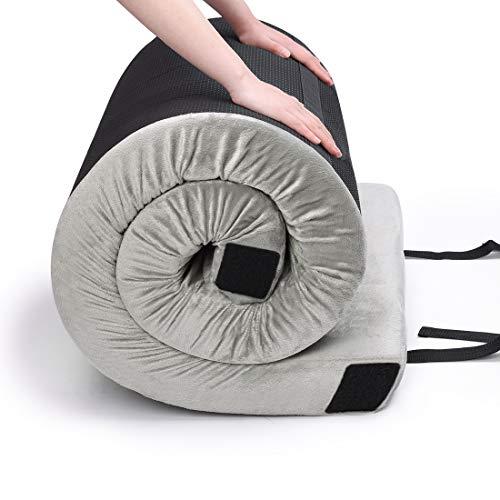 CertiPUR-US Memory Foam Car Camping Mattress - (75' x 30'x 2.75') Portable Sleep Pad Roll Out Mat Floor Guest Bed Mattress Waterproof Cover Travel Bag Better Stability Support