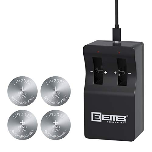 EEMB LIR2032 Rechargeable Battery Charger with 4PCS 3.7V Lithium-ion Coin Button Cell Batteries 45mAh