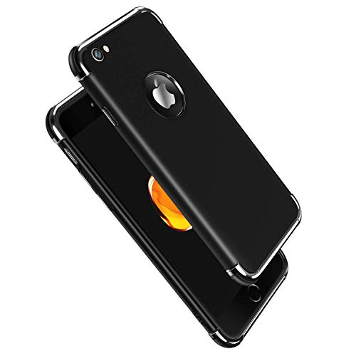 iPhone 6S Case, Meifigno 3 in 1 Stylish Soft TPU Case [Shock Absorption] with Premium Air Bumper Protection [Compatible with Wireless Charging] for Apple iPhone 6 Phone / 6S Phone Case - Black