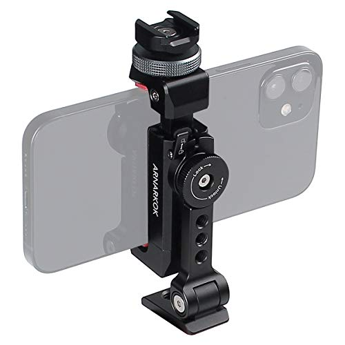 Metal Phone Tripod Mount+Rotating Cold Shoe 360 Rotate and Tilt Angles,Compatible with iPhone Samsung Smartphone Holder Adapter, Desktop Tripod for Cell Phone,Video Live Streaming Vlogging Rig