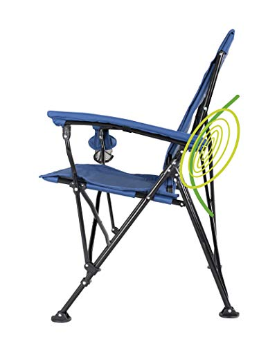 STRONGBACK Elite Folding Camping Lawn Lounge Chair Heavy Duty Camp Outdoor Seat with Lumbar Support and Portable Carry Bag, Navy/Grey, One Size