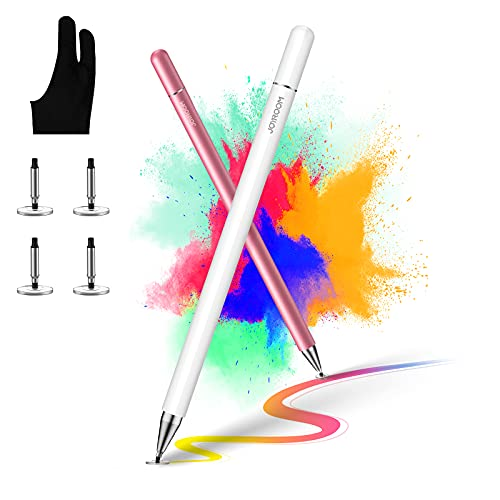 [2 Pcs] joyroom Stylus Pen for Touch Screen, Universal iPad Pencil for Kid Student Drawing, Writing, with Artist Glove(Palm Rejection), for Apple/iPhone/iPad Pro/Mini/Air/Android/Samsung/Surface