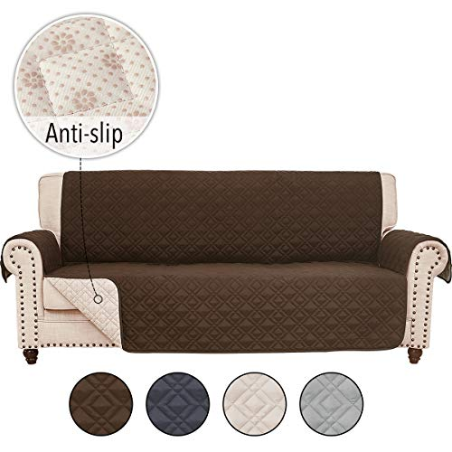 RHF Anti-Slip Sofa Cover for Leather Sofa, Couch Cover, Couch Covers for 3 Cushion Couch, Slip-Resistant Couch Cover for Leather Sofa, Sofa Covers for Living Room, Couch Covers(Sofa:Chocolate)