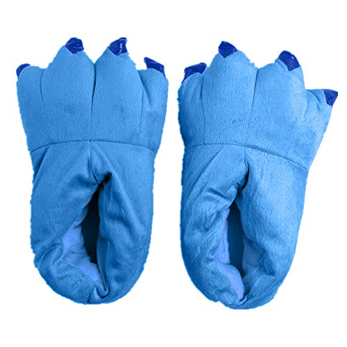 Japsom Unisex Cozy Flannel House Monster Slippers Halloween Animal Costume Paw Claw Shoes Blue M