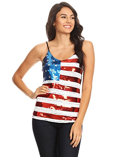 Anna-Kaci Womens Patriotic USA Flag American Sequin V Neck Cami Tank Top, Multicolored, Medium
