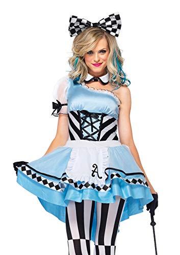 Leg Avenue Women's Psychedelic Alice in Wonderland Costume, Blue/White, Medium