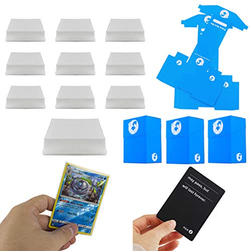 DeElf 1000 Clear Card Sleeves 66mm x 91mm for Boardgame with TCG Size or Standard Size Cards