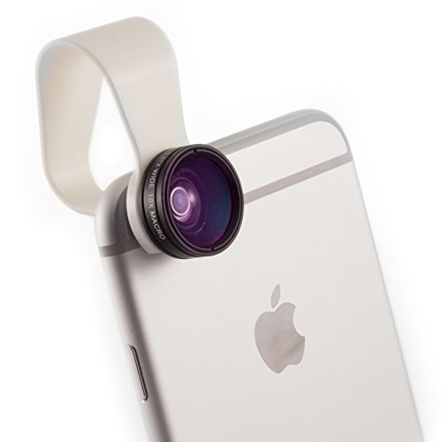 iPhone Camera Lens 2-in-1 by Pocket Lens, Macro and Wideangle Lens, Fits All iPhones, iPads, Samsung, Google Phones, Alternative to Olloclip, Comes with Waterproof Pouch