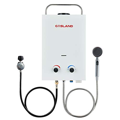 Tankless Water Heater, GASLAND Outdoors BS158 1.58GPM 6L Portable Gas Water Heater, Instant Propane Water Heater, Overheating Protection, RV Camping Water Heater, Easy to Install