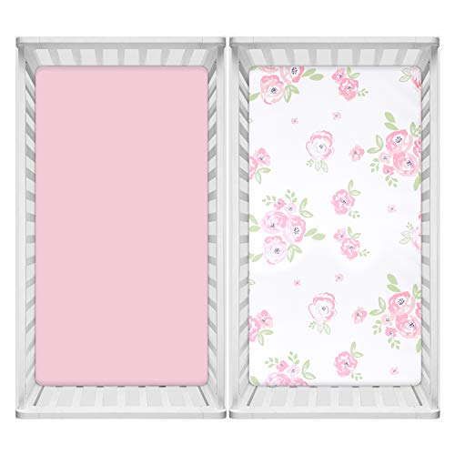 TILLYOU Microfiber Floral Crib Sheets for Girls, Silky Soft Toddler Sheets Printed, Breathable Cozy Baby Sheet Set, 28 x 52in, 2 Pack Rose Floral + Pink