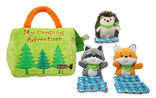 Cuddle Barn My Camping Adventure Playset - Soft Plush Green Tent Playset with Sounds and 3 Forest Animal Friends in Sleeping Bags, 7'