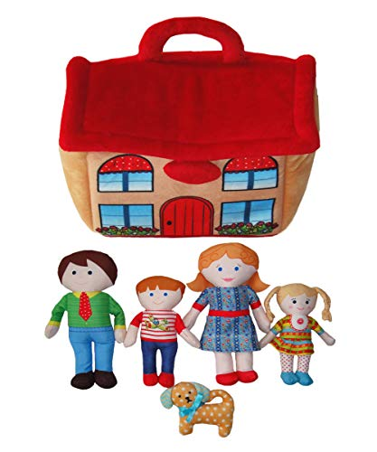 Snuggle Stuffs Kids Happy Family 8' Dolls & House Educational Preschool Toy Plush Dolls for Girls 2 3 4 5 Years Old - Set of 6