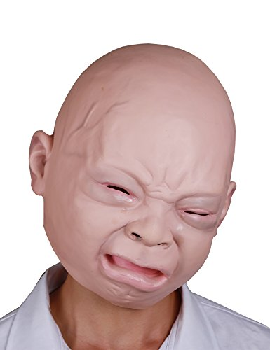 LarpGears Halloween Costume Party Baby Mask Full Head for Adults Latex Cry Baby Mask