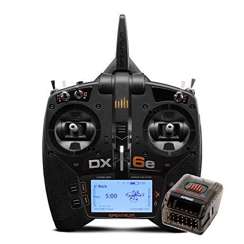 Spektrum DX6e 6-Channel 2.4GHz RC Radio Transmitter System DSMX DSM2 with AR620 Receiver Rx | 250 Model Memory | Telemetry | Wireless Trainer Link