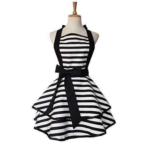 Violet Mist Cute Retro Apron Lacy Vintage Maid Polka Dot Cooking Apron Gift for Women Ladies (Black Stripe)