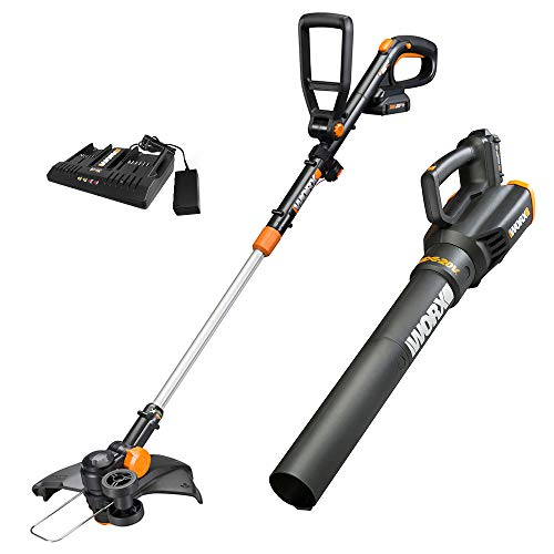 Worx WG930.2 20V PowerShare 10' Cordless String Trimmer & Turbine Blower Combo Kit, (2) 2.0Ah Batteries and Dual Charger