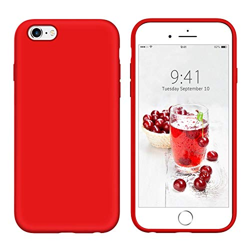 YINLAI iPhone 6S Plus Case iPhone 6 Plus Case Slim Soft Liquid Silicone Gel Rubber Cover Microfiber Cloth Hybrid Hard Back Non Slip Grip Protective Durable Phone Cases for iPhone 6S Plus/ 6 Plus,Red