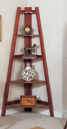 5-Tier Wooden Corner Bookshelf in Cherry Finished