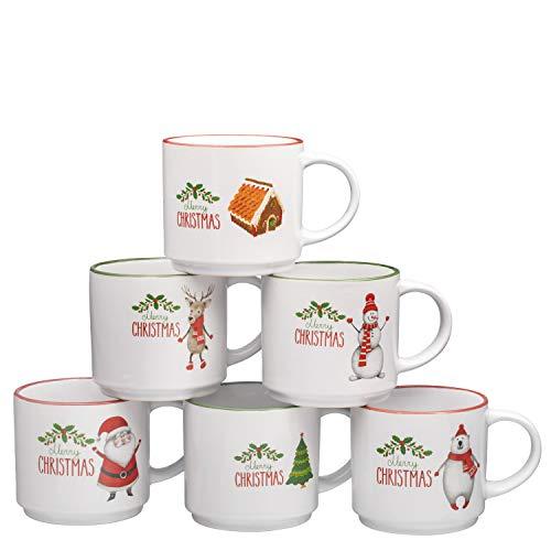 Coffee Mug Set Set of 6 Large-sized 14 Ounce Christmas Theme Ceramic Coffee Mugs Restaurant Coffee Mugs By Bruntmor