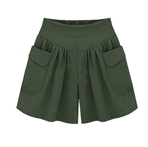 iHPH7 Shorts Women Plus Size Solid Loose Hot Pants Pockets Lady Summer Casual Green