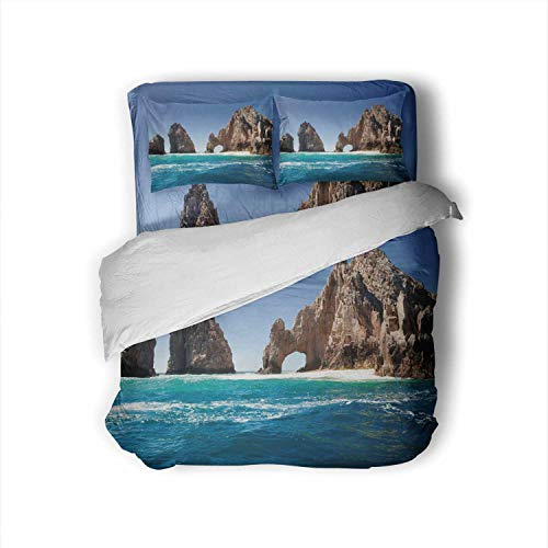 C COABALLA Unique Jagged Arch at Lands End in Cabo Lucas Mexico Mexico,Full Size Cotton Sateen Sheet Set - 4 Piece - Supersoft Cabo Lucas Full