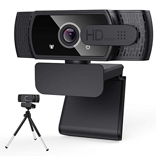 1080P HD Webcam with Privacy Cover & Tripod,Desktop Laptop Computer Webcam with USB & Built in Noise Reduction Microphone, 360° Rotation, Plug & Play, for Mac OS, Windows