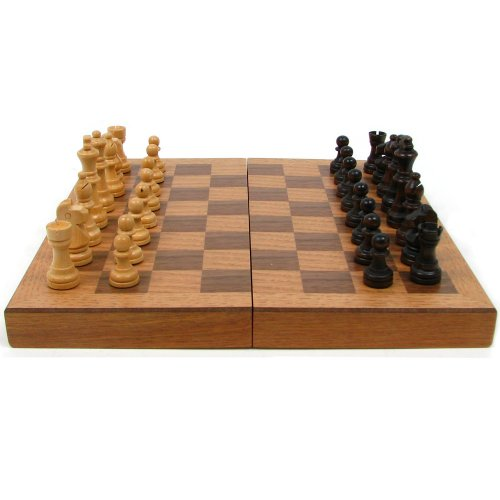 Hey! Play! Wooden Book-Style Chess Board with Staunton Chessmen, Brown