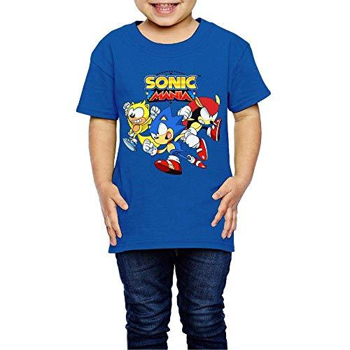 Washed Cotton Baby Boy Girls Shirt Son-ic - Man-ia Cute Toddler Kids Summer T Shirt Funny RoyalBlue