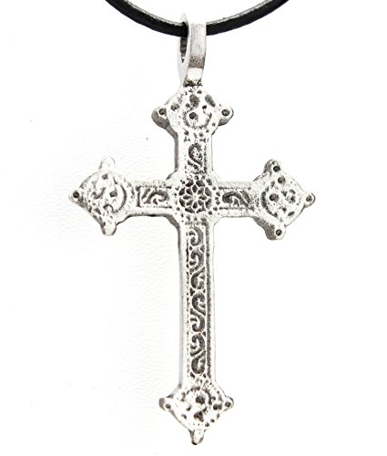 Trilogy Jewelry Pewter Gothic Style Christian Cross Pendant Black Necklace Cord with Clasp