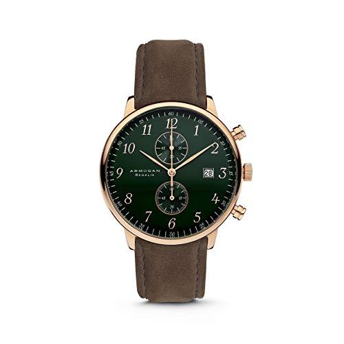 Armogan Regalia - Emerald Green C53 - Men's Chronograph Watch Suede Leather Strap
