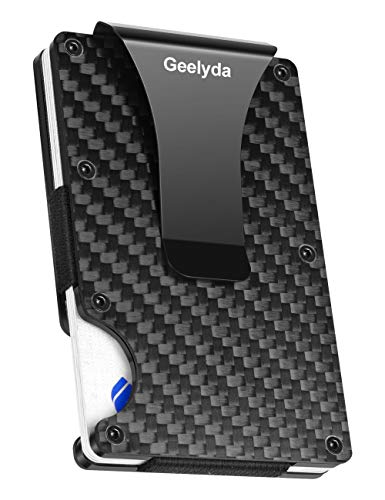 Geelyda Carbon Fiber Wallet Mini Credit Card Holder, RFID Blocking Slim Wallet and Money Clip, Front Pocket Wallets for Men- Minimalist Futuristic Design (Black)