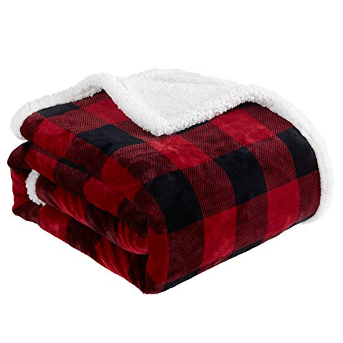 Touchat Sherpa Red and Black Buffalo Plaid Christmas Throw Blanket, Fuzzy Fluffy Soft Cozy Blanket, Fleece Flannel Plush Microfiber Blanket for Couch Bed Sofa (60' X 70')