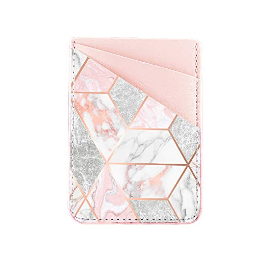 Obbii Metallic Gold PU Leather Card Holder for Back of Phone with 3M Adhesive Stick-on Credit Card Wallet Pockets for iPhone and Android Smartphones (Geometric Rose Gold Marble Pink)