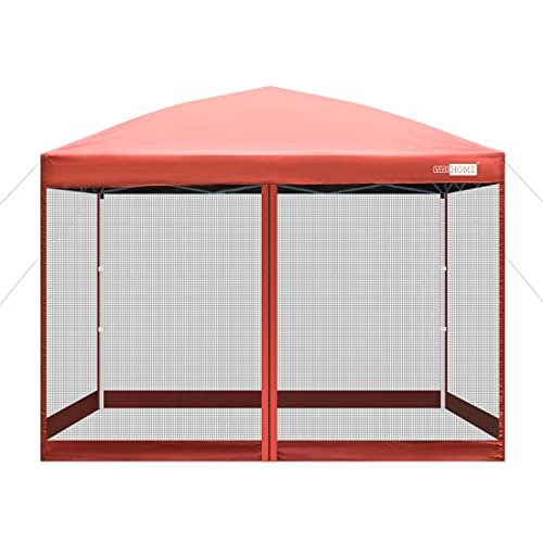 VIVOHOME 210D Oxford Outdoor Easy Pop Up Canopy Screen Party Tent with Mesh Side Walls Red 8 x 8 Feet