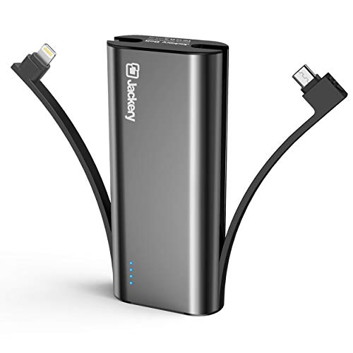 Portable Charger Jackery Bolt 6000 mAh Power Outdoors - Power bank with built in Lightning Cable [Apple MFi certified] iPhone Battery Charger External Battery, TWICE as FAST as Original iPhone Charger