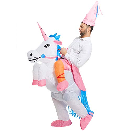 TOLOCO Inflatable Unicorn Rider Costume | Inflatable Costumes For Adults Or Child | Halloween Costume | Blow Up Costume (Adult)