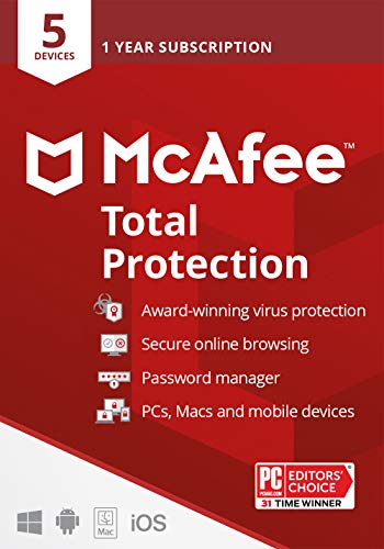 McAfee Total Protection 2021, 5 Device, Antivirus Internet Security Software, Password Manager, Privacy, 1 Year Subscription - Key Card