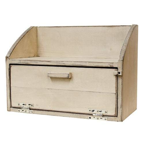 Primitive Ivory Bread Box w/Shelf Pinewood breadbox