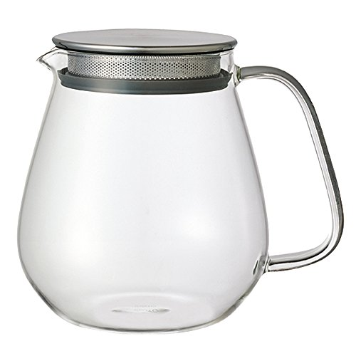 Kinto Stainless Unitea One Touch Teapot 720 Milliliter (24.35 Fl. Oz.) - Heat-resistant Glass Teapot with Stainless Steel Strainer in Lid (Japan Import)