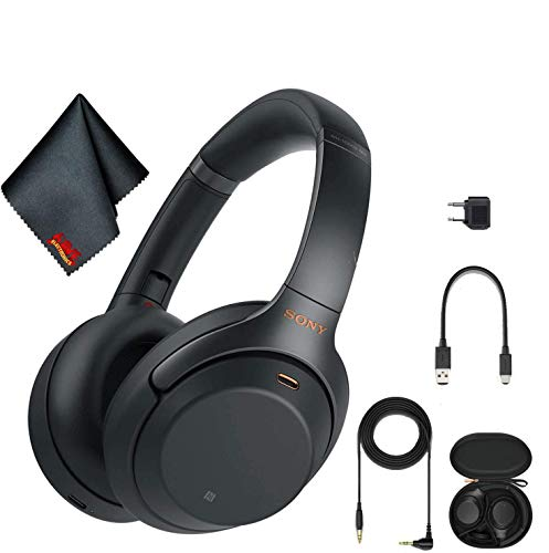 Sony WH-1000XM3 Wireless Noise-Canceling Over-Ear Headphones (Black) with Cleaning Kit and Hosa Cable Splitter