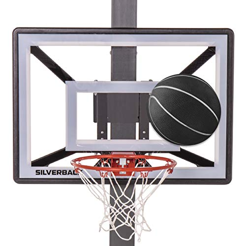 Silverback Junior Youth 33' Basketball Hoop with Lock 'n Rock Mounting Technology Mounts to Round and Vertical Poles, Black (B8410W)