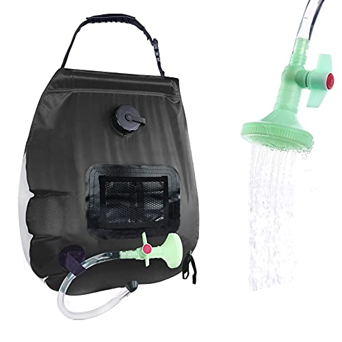 PAOOTICI Solar Shower Bag Camping Shower Bag 5 gallons/20L with Removable Hose and On-Off Switchable Shower Head for Traveling Hiking