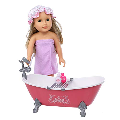 Beverly Hills 18 Inch Doll Accessories Bathtub Set for Girls Comes with Bath Tub, Shower Cap, Towel, Shampoo and 2 Lotions. Fits American Girl Dolls