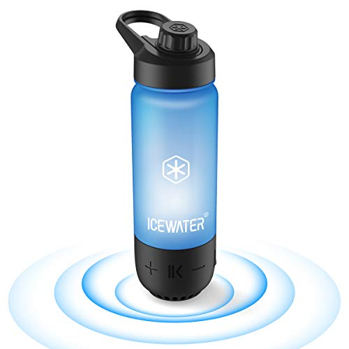 ICEWATER 3-in-1 Smart Water Bottle(Glows to Remind You to Stay Hydrated)+Bluetooth Speaker+Music Dancing Lights,22 oz,Stay Hydrated, Enjoy Music (A2-Black)