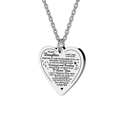 Mother Father to Daughter Necklace Inspirational Mother's Day Gifts (Love from Dad Heart necklace - Some times it's hard to find words to tell you how much you mean to me)