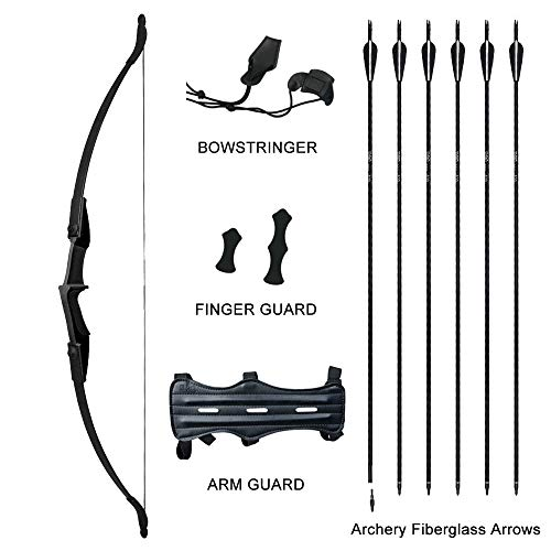 Tongtu 53.5' Takedown Recurve Bow and Arrows for Adult Teens Archery Set Left and Right Hand (Black, 40LB)