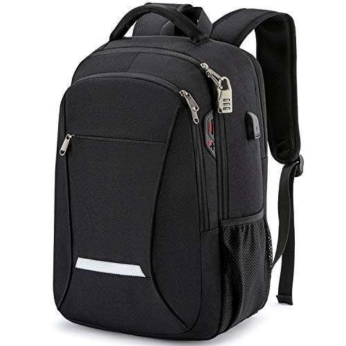Backpack for Men,Travel Laptop Backpack with USB Charging/Headphone Port,Durable Water Resistant College School Backpack Laptop Bag for Women Fits 15.6 Inch Computer and Notebook,Black