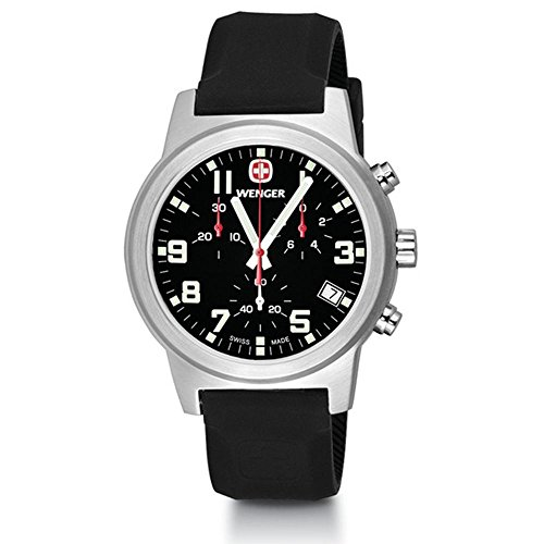 Wenger Field Chrono Large Swiss Quartz Men's Watch, Silicone Strap, Black