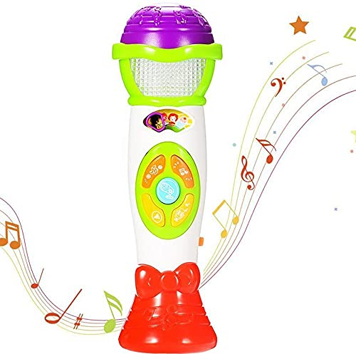 ThinkMax Kids Microphone Toy, Voice Changing and Recording Microphone with Colorful Light Musical Toys (Green)